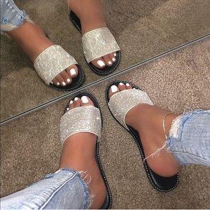 Shoes - White Rhinestone Band Slip On Flip Flop Sandals